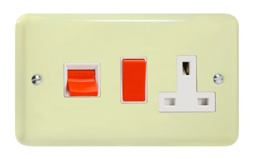 Varilight XY45PW.WC Lily Pastel White Chocolate 45A DP Cooker Switch + 13A Switched Socket